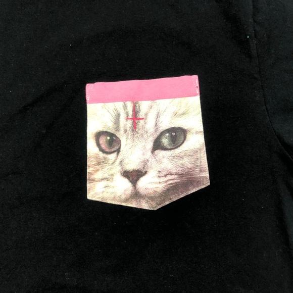 7780a6831ac5 OFWGKTA Odd Future Black Cat Pocket Tee Shirt